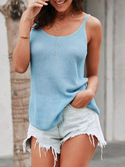 Color=Sky Blue | Knitted Camisole Hit Color Summer Round Neck Thin Shoulder Strap Tops For Women-Sky Blue 1