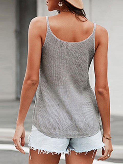 Color=Grey | Knitted Camisole Hit Color Summer Round Neck Thin Shoulder Strap Tops For Women-Grey 2