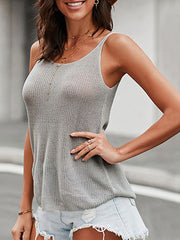 Color=Grey | Knitted Camisole Hit Color Summer Round Neck Thin Shoulder Strap Tops For Women-Grey 3