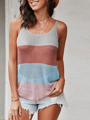 Color=Multicolor | Knitted Camisole Hit Color Summer Round Neck Thin Shoulder Strap Tops For Women-Multicolor 2