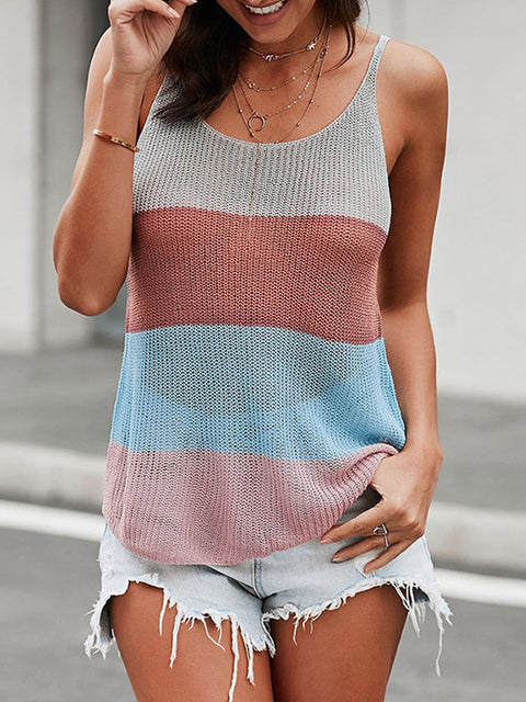 Color=Multicolor | Knitted Camisole Hit Color Summer Round Neck Thin Shoulder Strap Tops For Women-Multicolor 1