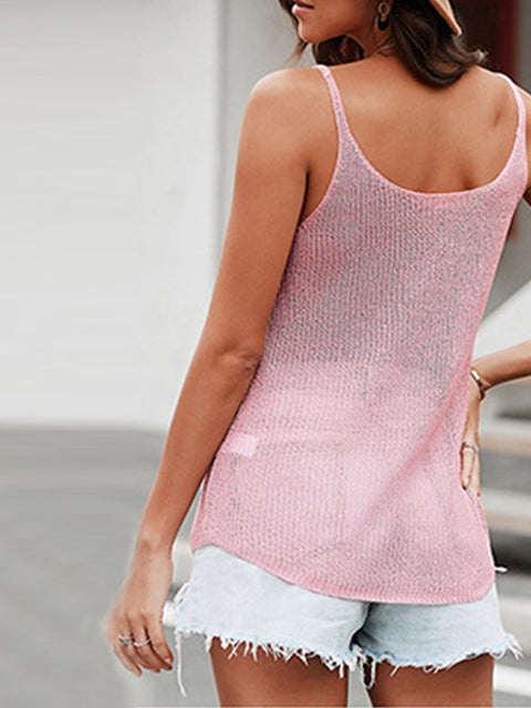 Color=Pink | Knitted Camisole Hit Color Summer Round Neck Thin Shoulder Strap Tops For Women-Pink 2