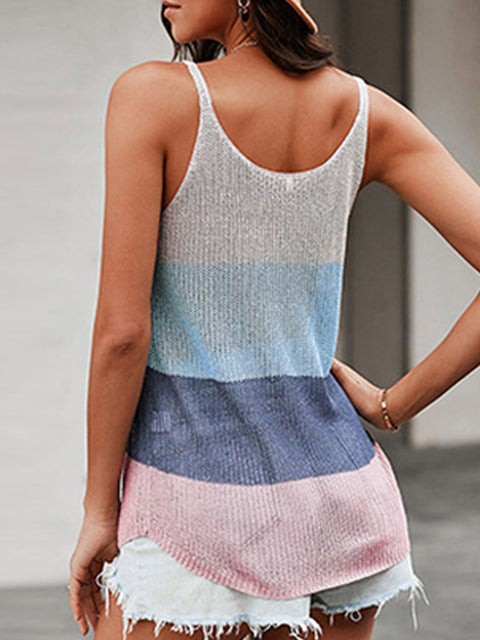Color=Sapphire Blue | Knitted Camisole Hit Color Summer Round Neck Thin Shoulder Strap Tops For Women-Sapphire Blue 2