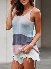 Color=Sapphire Blue | Knitted Camisole Hit Color Summer Round Neck Thin Shoulder Strap Tops For Women-Sapphire Blue 3