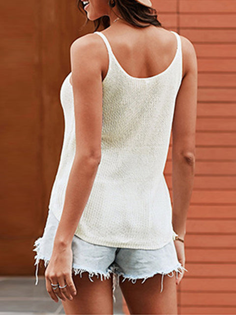 Color=White | Knitted Camisole Hit Color Summer Round Neck Thin Shoulder Strap Tops For Women-White 2