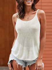 Color=White | Knitted Camisole Hit Color Summer Round Neck Thin Shoulder Strap Tops For Women-White 1