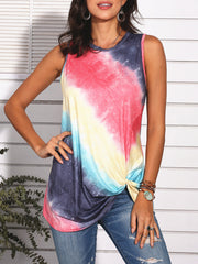 Color=Red | Feminine Sleeveless Street Fashion Tie-Dye T-Shirts Top-Red 2