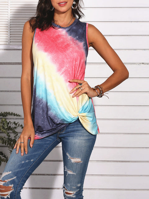 Color=Red | Feminine Sleeveless Street Fashion Tie-Dye T-Shirts Top-Red 4