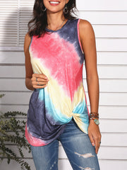 Color=Red | Feminine Sleeveless Street Fashion Tie-Dye T-Shirts Top-Red 1