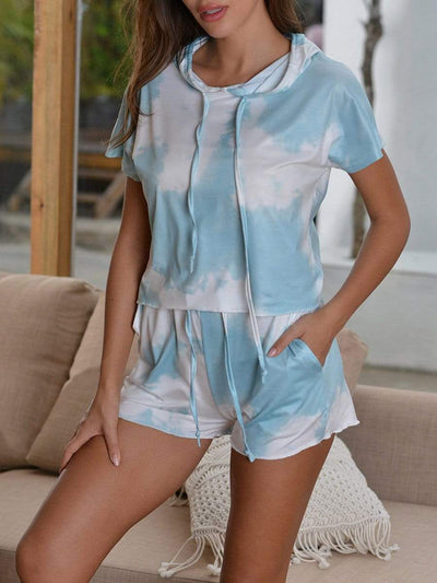 Women's Tie-dye Pajama Suits with Hoodie Tops