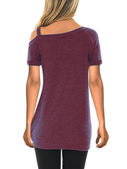 Color=Burgundy | Twisted T-Shirt Short Sleeve Strapless Top For Women-Burgundy 2