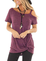 Color=Burgundy | Twisted T-Shirt Short Sleeve Strapless Top For Women-Burgundy 1