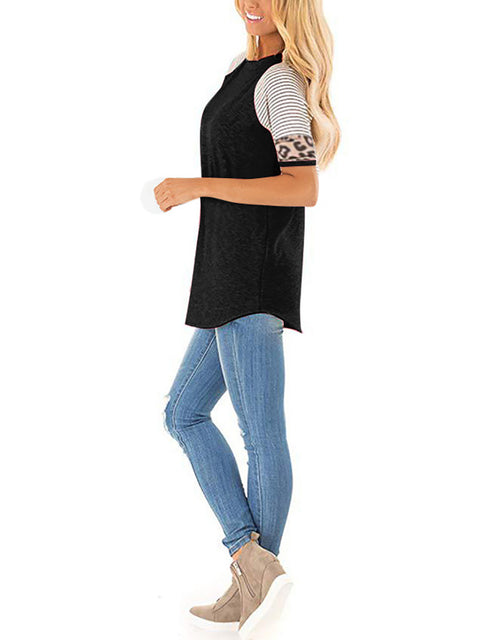 Color=Black | Women Round Neck Striped Leopard Stitching Short Sleeve T-Shirt -Black 3