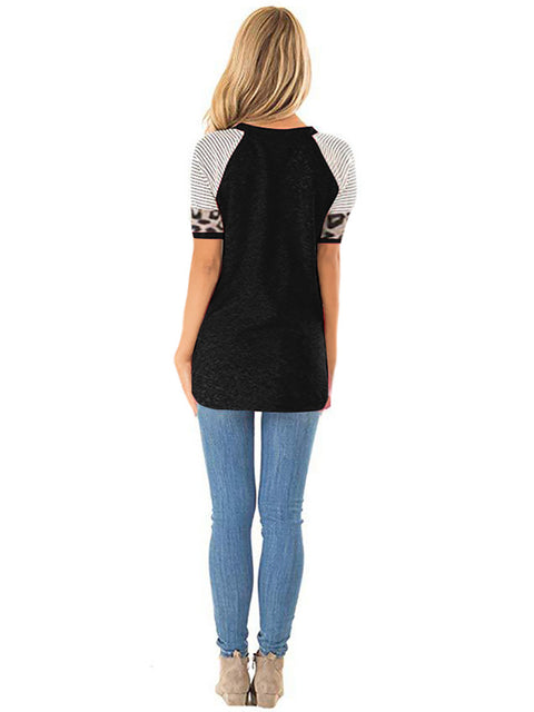 Color=Black | Women Round Neck Striped Leopard Stitching Short Sleeve T-Shirt -Black 2