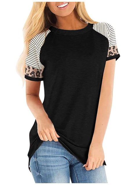 Color=Black | Women Round Neck Striped Leopard Stitching Short Sleeve T-Shirt -Black 1