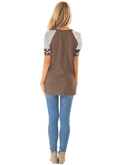 Color=Coffee | Women Round Neck Striped Leopard Stitching Short Sleeve T-Shirt -Coffee 2