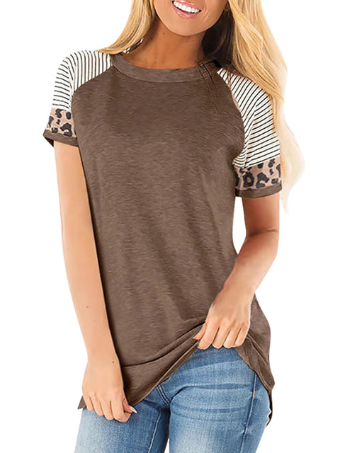Color=Coffee | Women Round Neck Striped Leopard Stitching Short Sleeve T-Shirt -Coffee 1