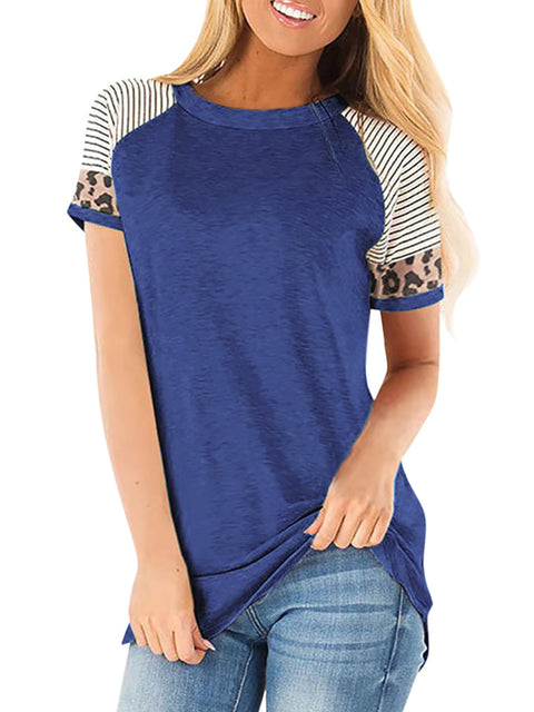 Color=Dusty Navy | Women Round Neck Striped Leopard Stitching Short Sleeve T-Shirt -Dusty Navy 1