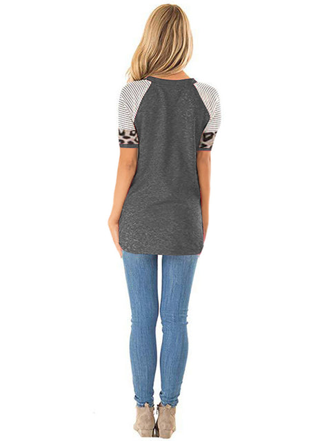 Color=Deep Grey | Women Round Neck Striped Leopard Stitching Short Sleeve T-Shirt -Deep Grey 2