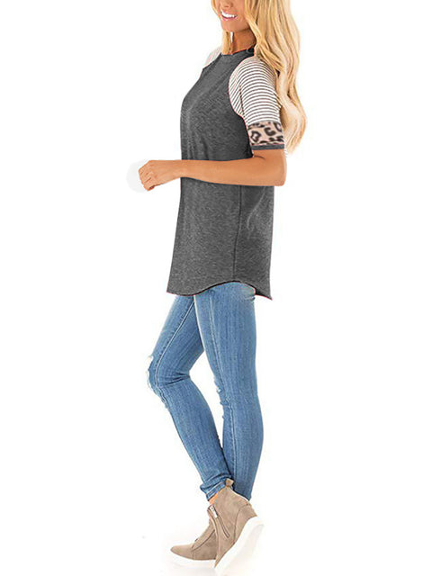 Color=Deep Grey | Women Round Neck Striped Leopard Stitching Short Sleeve T-Shirt -Deep Grey 3