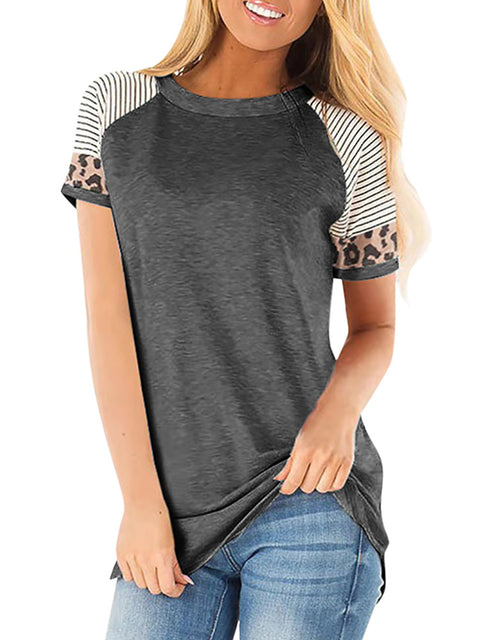 Color=Deep Grey | Women Round Neck Striped Leopard Stitching Short Sleeve T-Shirt -Deep Grey 1