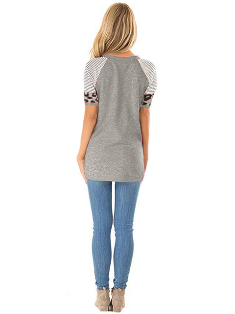 Color=Grey | Women Round Neck Striped Leopard Stitching Short Sleeve T-Shirt -Grey 2