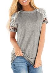 Color=Grey | Women Round Neck Striped Leopard Stitching Short Sleeve T-Shirt -Grey 1