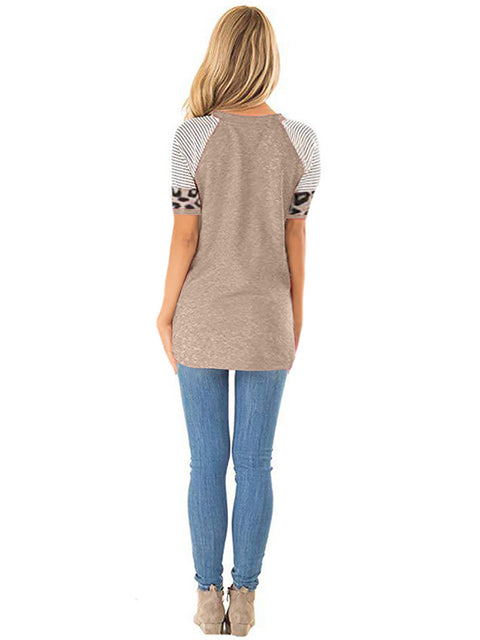Color=Mushroom | Women Round Neck Striped Leopard Stitching Short Sleeve T-Shirt -Mushroom 2