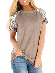 Color=Mushroom | Women Round Neck Striped Leopard Stitching Short Sleeve T-Shirt -Mushroom 1