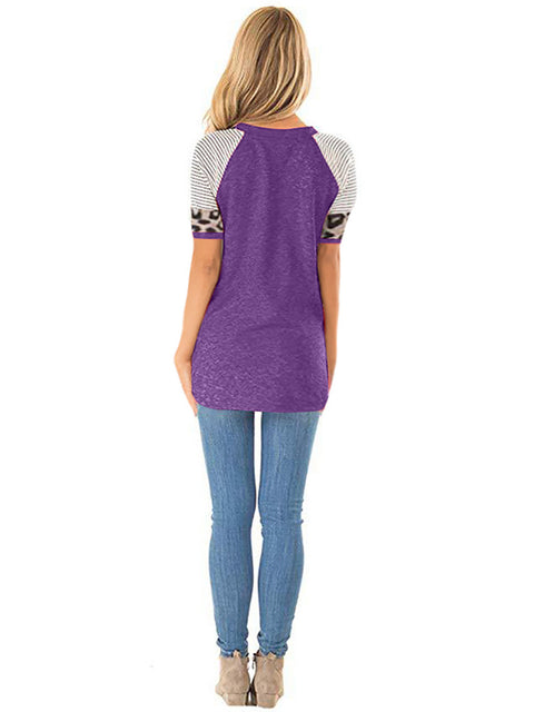 Color=Purple | Women Round Neck Striped Leopard Stitching Short Sleeve T-Shirt -Purple 2