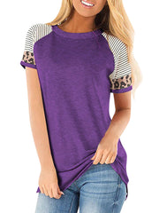 Color=Purple | Women Round Neck Striped Leopard Stitching Short Sleeve T-Shirt -Purple 1