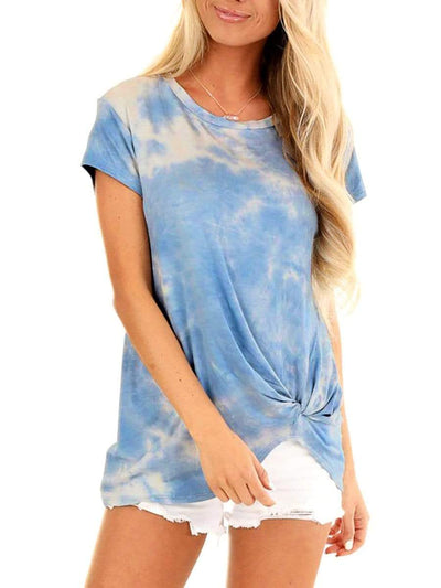 Color=Sky Blue | Comfy Casual O-Neck Loungewear T-Shirt With Short Sleeve-Sky Blue 1