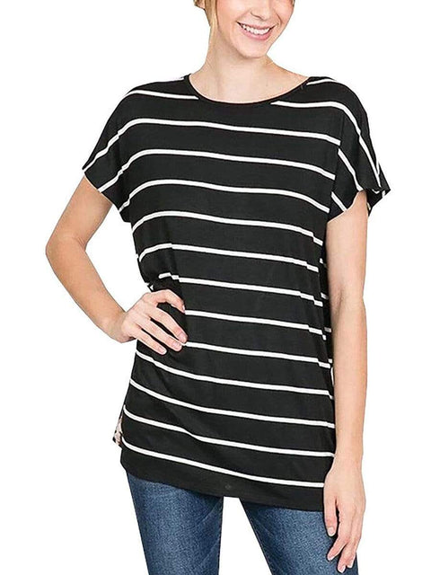 Color=Black | Fashion Round Neck Striped T-Shirt With Short Sleeves -Black 1
