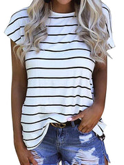 Color=White | Fashion Round Neck Striped T-Shirt With Short Sleeves -White 1