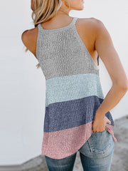 Color=Sky Blue | Vest Summer Stripes Hanging Neck Round Neck Sleeveless Knitted Top-Sky Blue 2