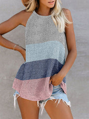 Color=Sky Blue | Vest Summer Stripes Hanging Neck Round Neck Sleeveless Knitted Top-Sky Blue 1