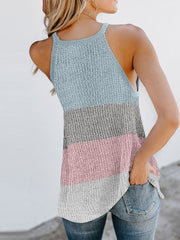 Color=Grey | Vest Summer Stripes Hanging Neck Round Neck Sleeveless Knitted Top-Grey 2