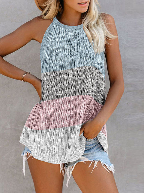 Color=Grey | Vest Summer Stripes Hanging Neck Round Neck Sleeveless Knitted Top-Grey 1
