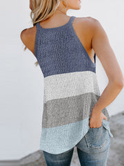 Color=Pink | Vest Summer Stripes Hanging Neck Round Neck Sleeveless Knitted Top-Pink 2