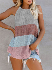 Color=Pink | Vest Summer Stripes Hanging Neck Round Neck Sleeveless Knitted Top-Pink 1