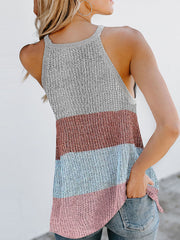 Color=White | Vest Summer Stripes Hanging Neck Round Neck Sleeveless Knitted Top-White 2