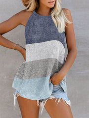 Color=White | Vest Summer Stripes Hanging Neck Round Neck Sleeveless Knitted Top-White 1