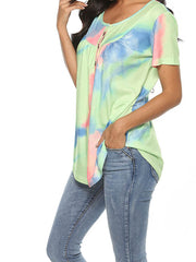 Color=Green | V-Neck Button Gradient Tie-Dye Loose Short Sleeve Top T-Shirt-Green 2