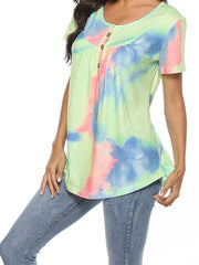Color=Green | V-Neck Button Gradient Tie-Dye Loose Short Sleeve Top T-Shirt-Green 3
