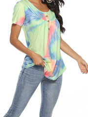Color=Green | V-Neck Button Gradient Tie-Dye Loose Short Sleeve Top T-Shirt-Green 4