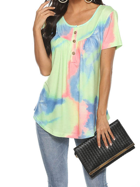 Color=Green | V-Neck Button Gradient Tie-Dye Loose Short Sleeve Top T-Shirt-Green 1