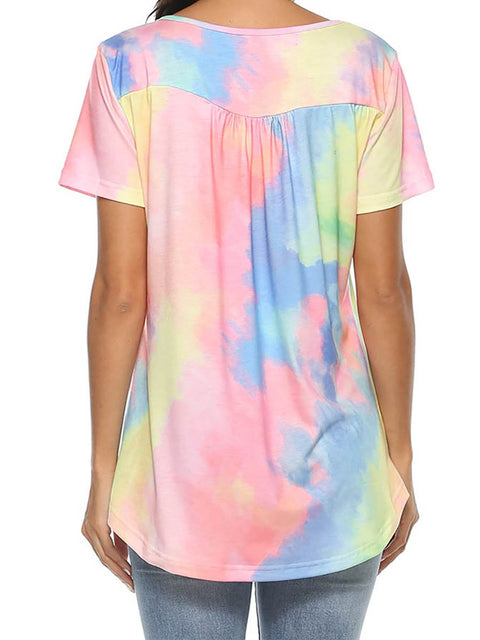 Color=Pink | V-Neck Button Gradient Tie-Dye Loose Short Sleeve Top T-Shirt-Pink 2