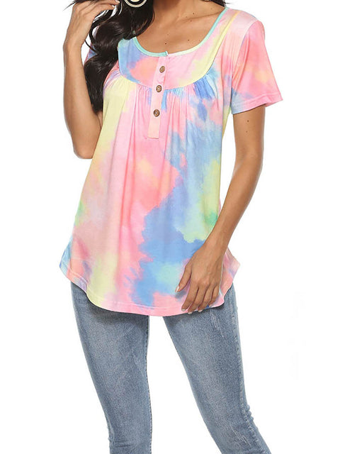 Color=Pink | V-Neck Button Gradient Tie-Dye Loose Short Sleeve Top T-Shirt-Pink 3