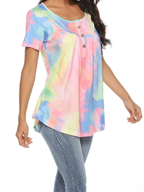 Color=Pink | V-Neck Button Gradient Tie-Dye Loose Short Sleeve Top T-Shirt-Pink 4