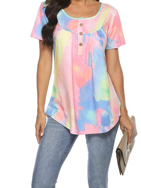 Color=Pink | V-Neck Button Gradient Tie-Dye Loose Short Sleeve Top T-Shirt-Pink 1